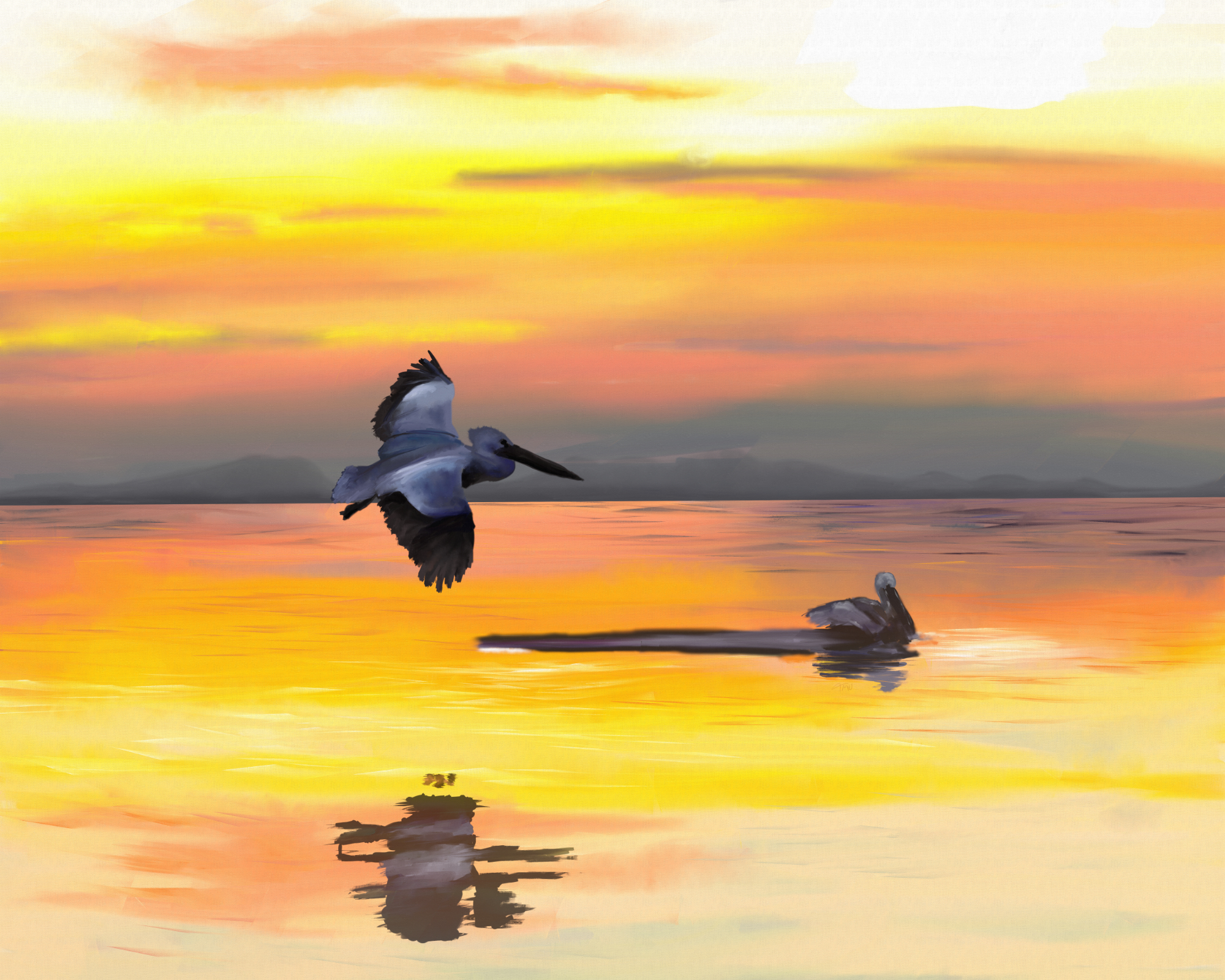 Digital acrylic painting of seabirds flying low over an ocean at sunset
