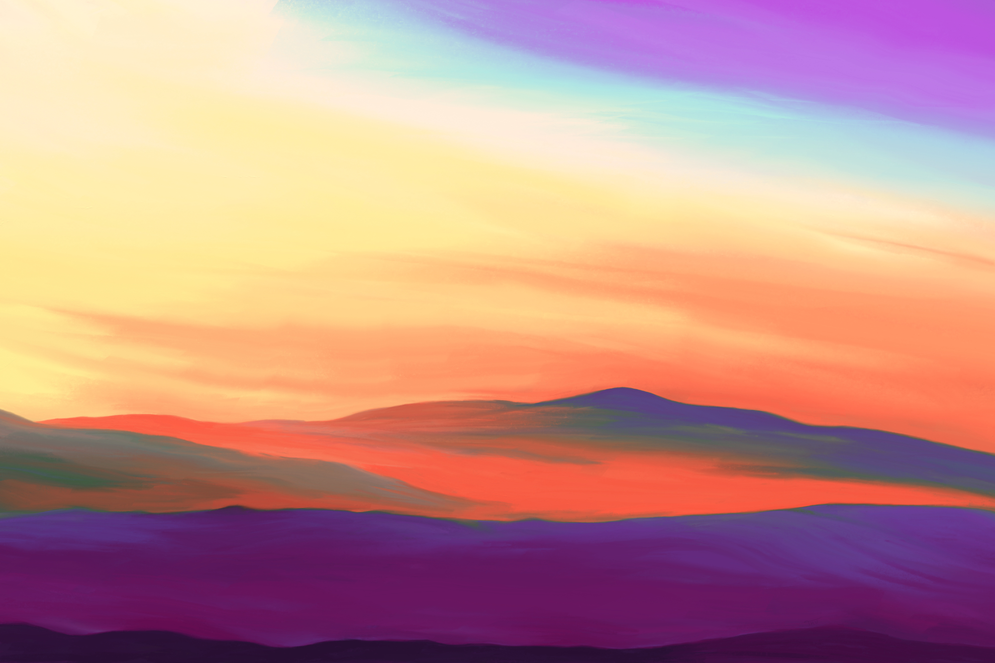 Digital painting of a landscape at sunrise in mystical colors