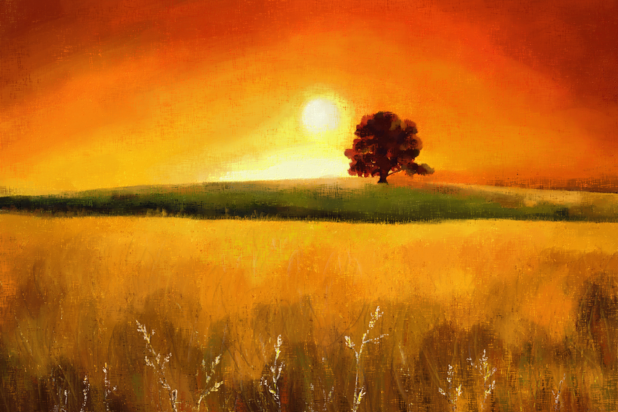 Digital soft pastel painting of a Tree at Sunrise