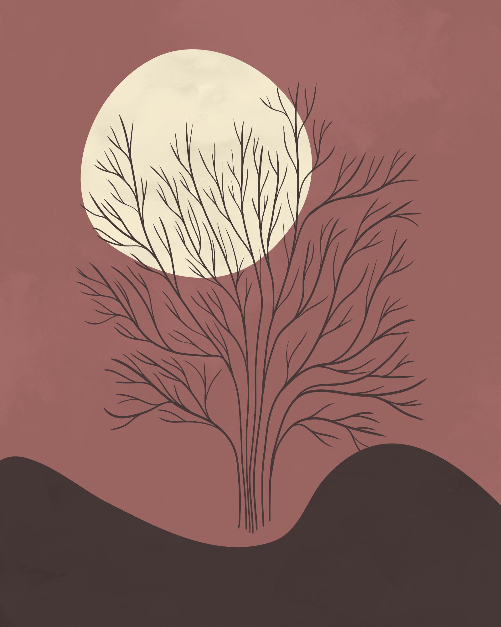 Minimaist landscape in dark autumn colors 8Minimalistisch landschap met een boom, een berg en een zon in herfstkleuren. Digitaal mixed media: Aquarelverf en inkt ArtRage, Affinity Design