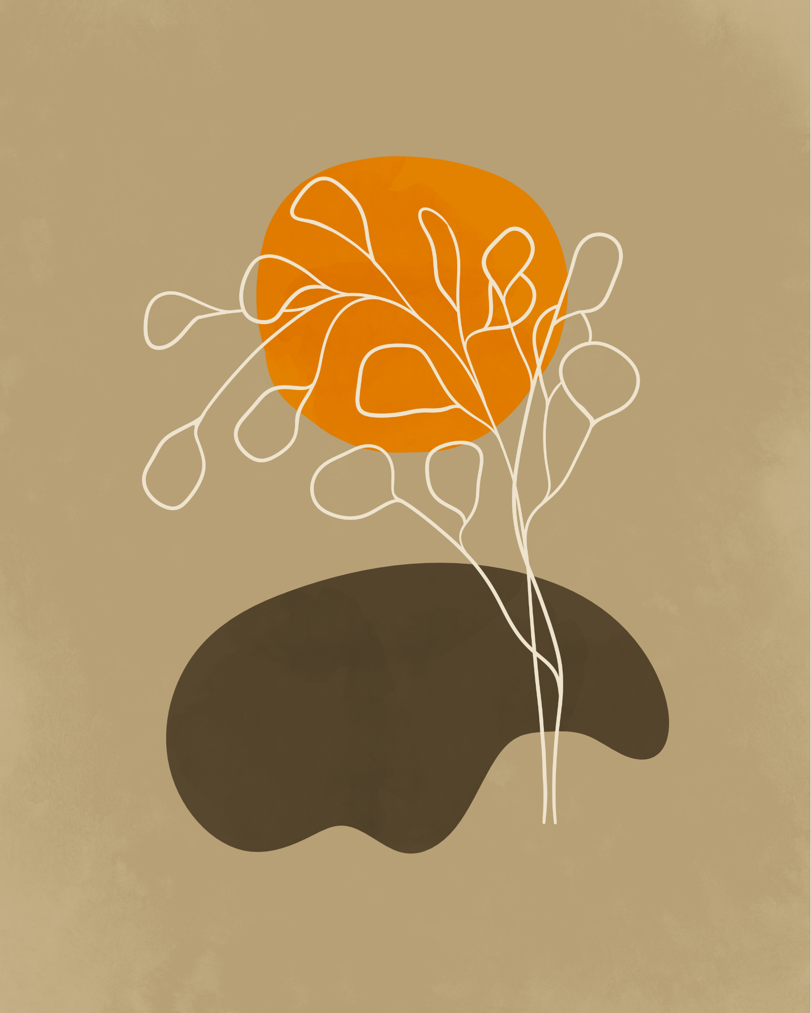 Minimalist landscape in light autumn colors with an orange sun 3