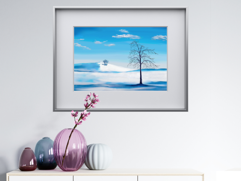 Blue winterlandscape with a tree
