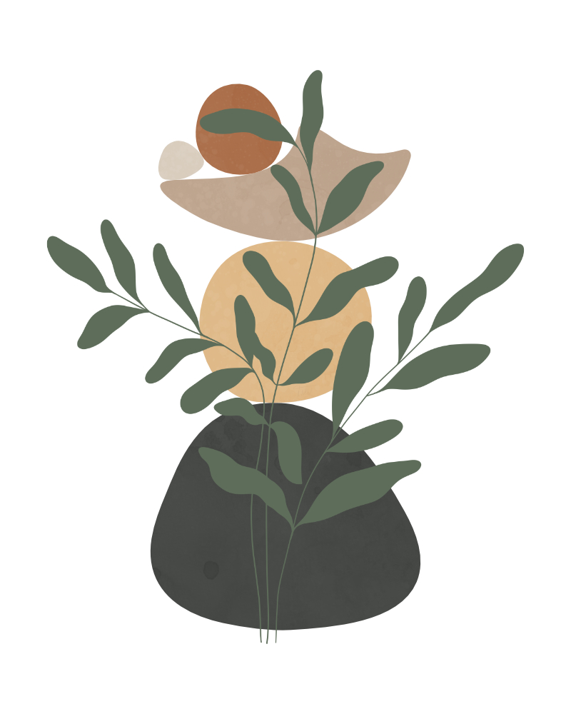 Minimalist landscape with a leafy plant 8