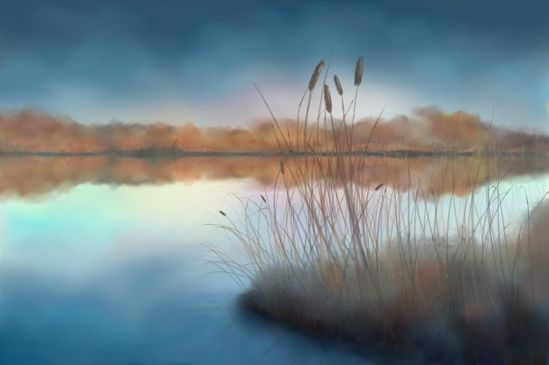 Digital watercolor painting of a lake with a blue sky