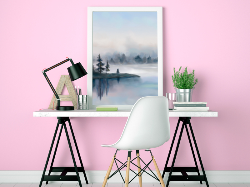 Digital watercolor painting of a misty lake with reflections