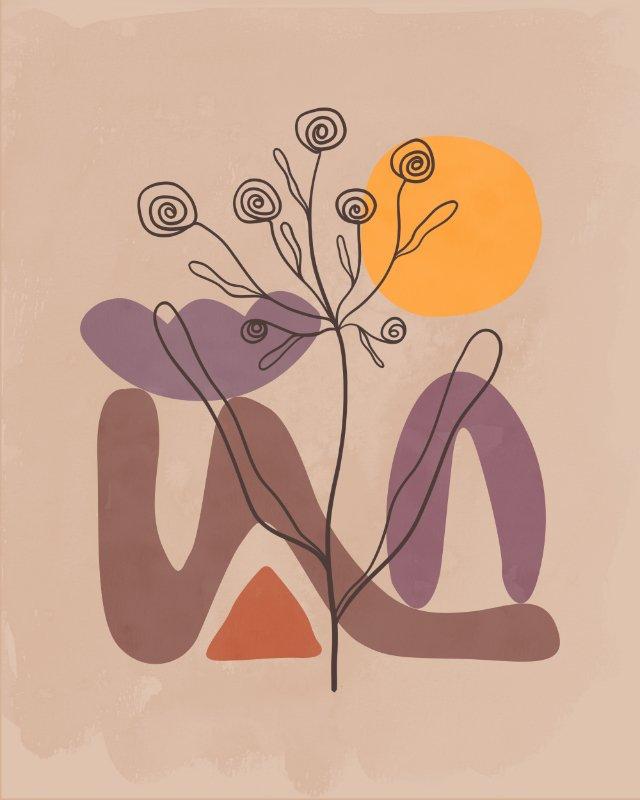 Minimalist landscape with a flower 10