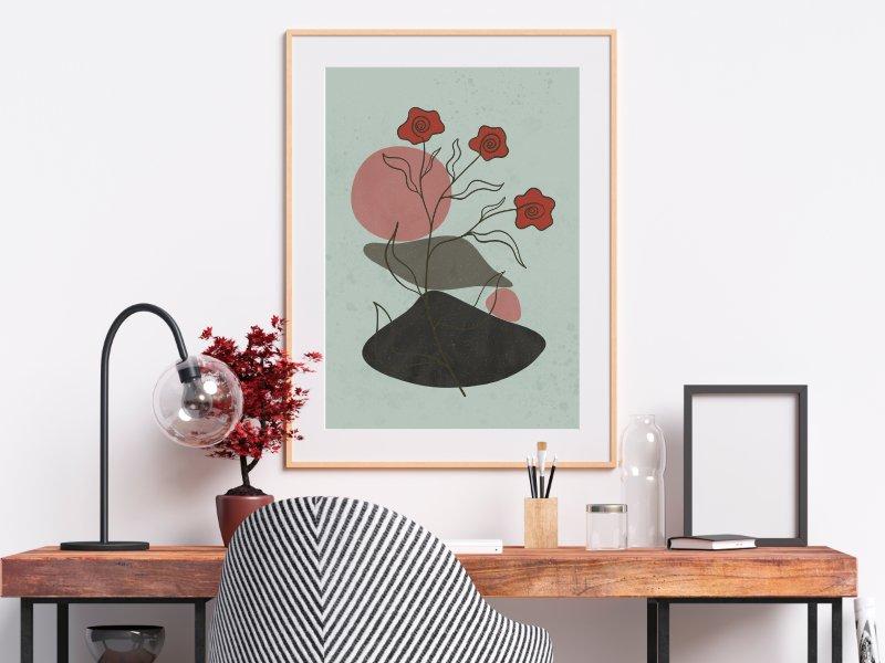 Minimalist landscape with a flower 11