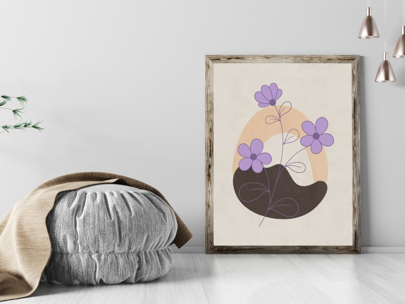 Minimalist landscape with a flower 12