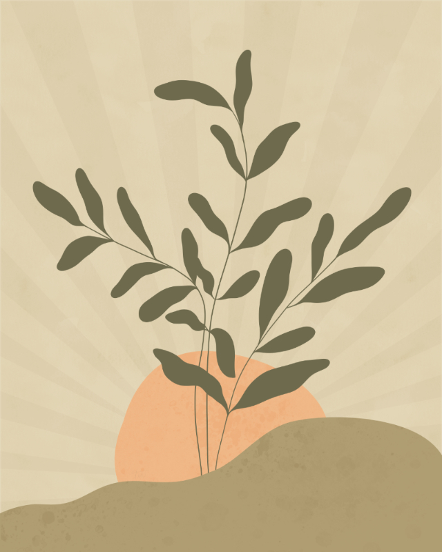 Minimalist landscape with a leafy plant 17