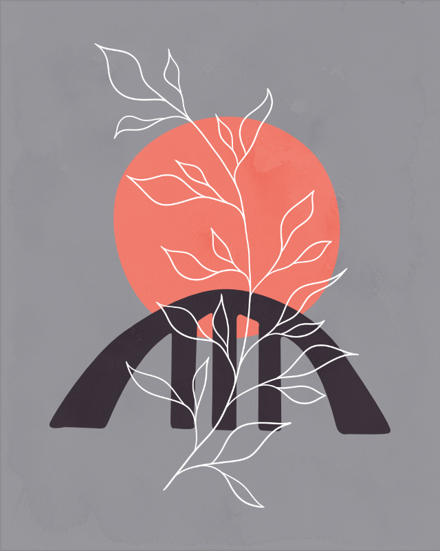 Minimalist landscape with a leafy plant 19