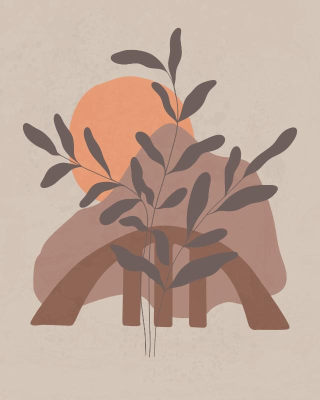 Minimalist landscape with a leafy plant 20