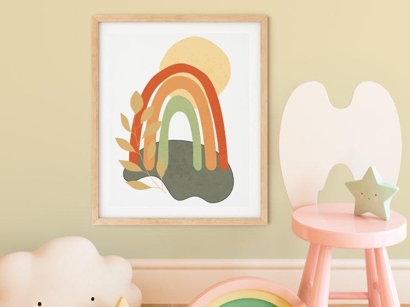 Minimalist landscape with a rainbow 2