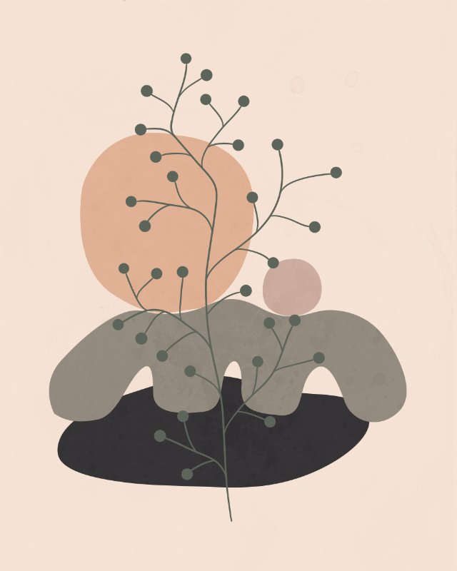 Minimalist landscape with a tree 8