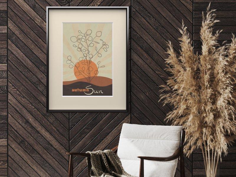 Minimalist landscape with hand-lettering autumn sun