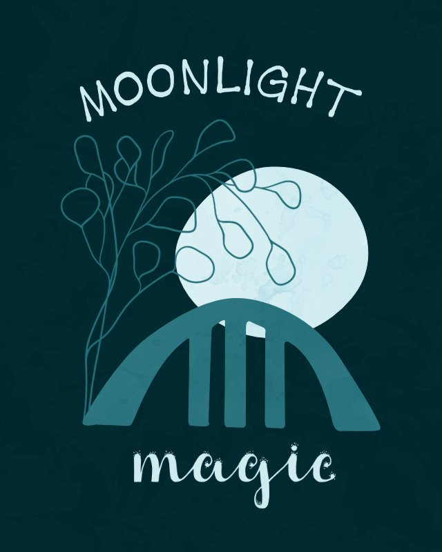 Minimalist landscape with hand-lettering moonlight magic