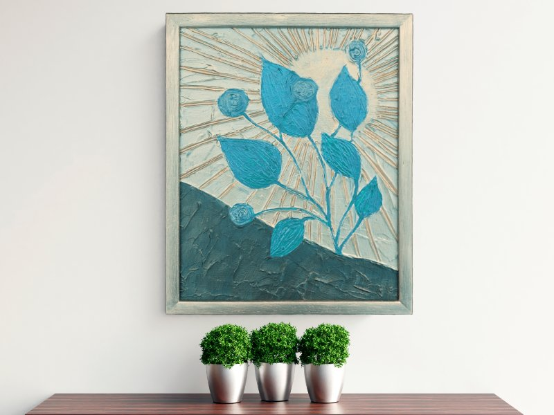 Blue Leaves textured mixed media art in blue and silver