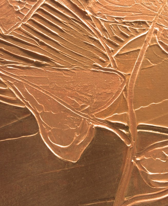 Bronze autumn sun textured mixed media art in bronze and gold