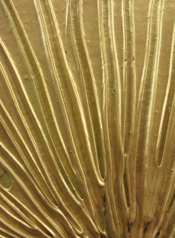 Golden autumn sun textured mixed media-art in bronze and gold 1