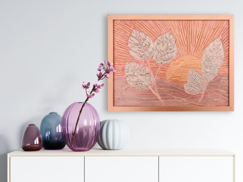 Leaves at sunrise textured mixed media art in rosegold and silver