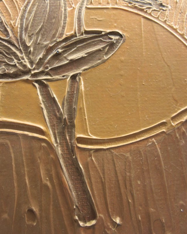 Leaves in golden sun text red mixed media art in gold
