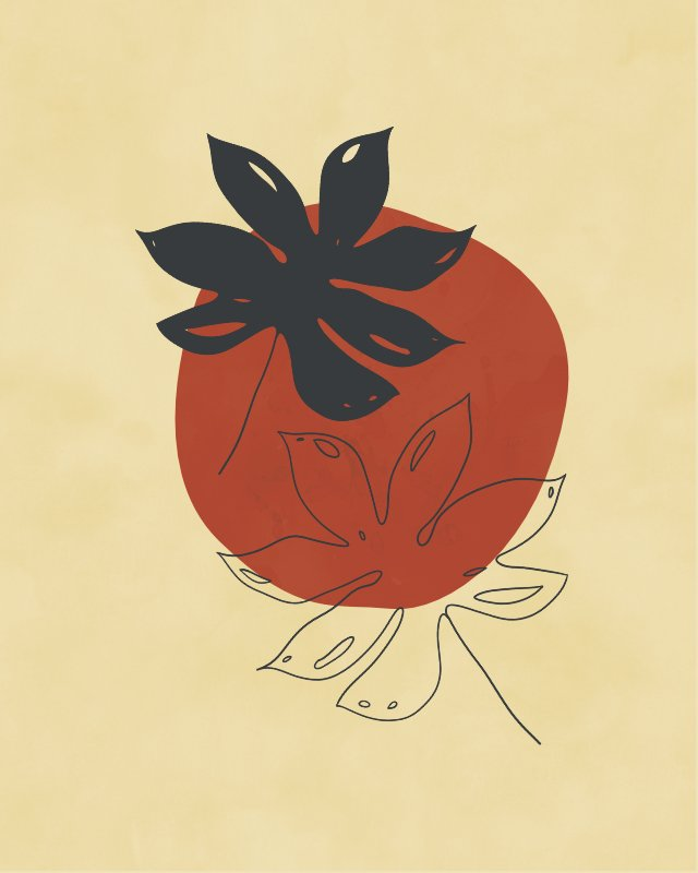 Minimalist illustration with two palm leaves 11