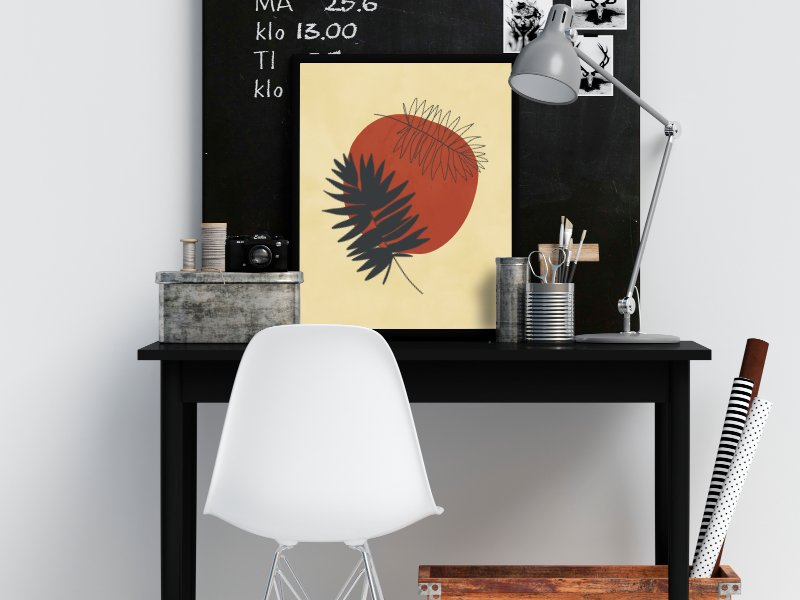 Minimalist illustration with two palm leaves 12
