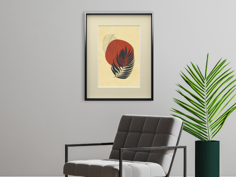 Minimalist illustration with two palm leaves 9