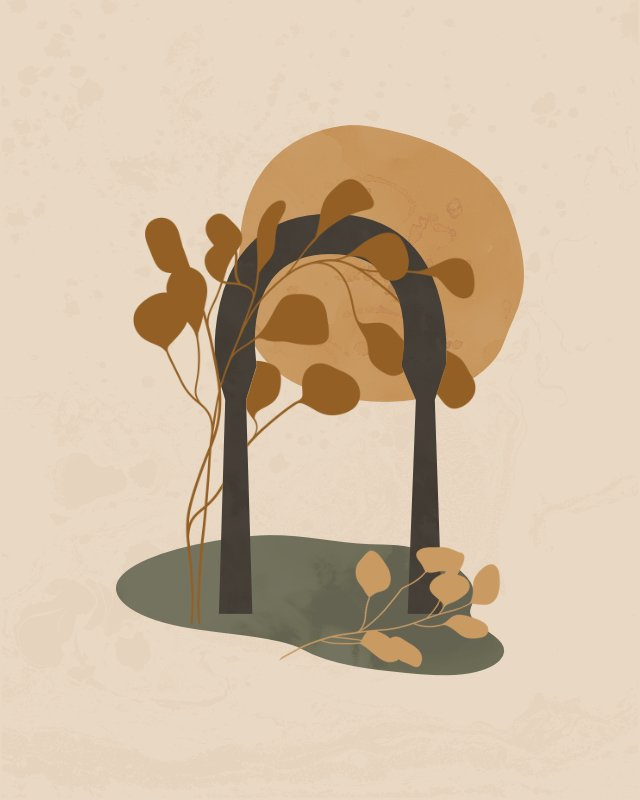 Minimalist landscape with an arch and a plant 2