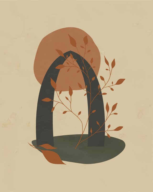 Minimalist landscape with an arch and a plant 3