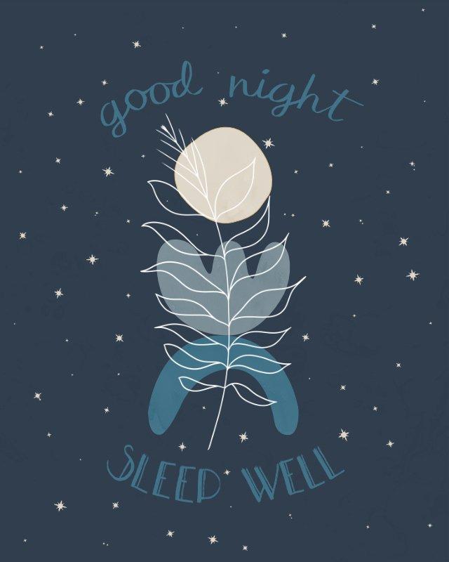 Minimalist landscape with hand-lettering Good night sleep well
