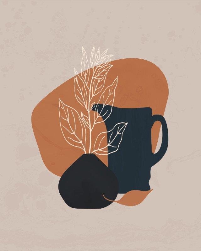 Minimalist still life illustration of a jug 1