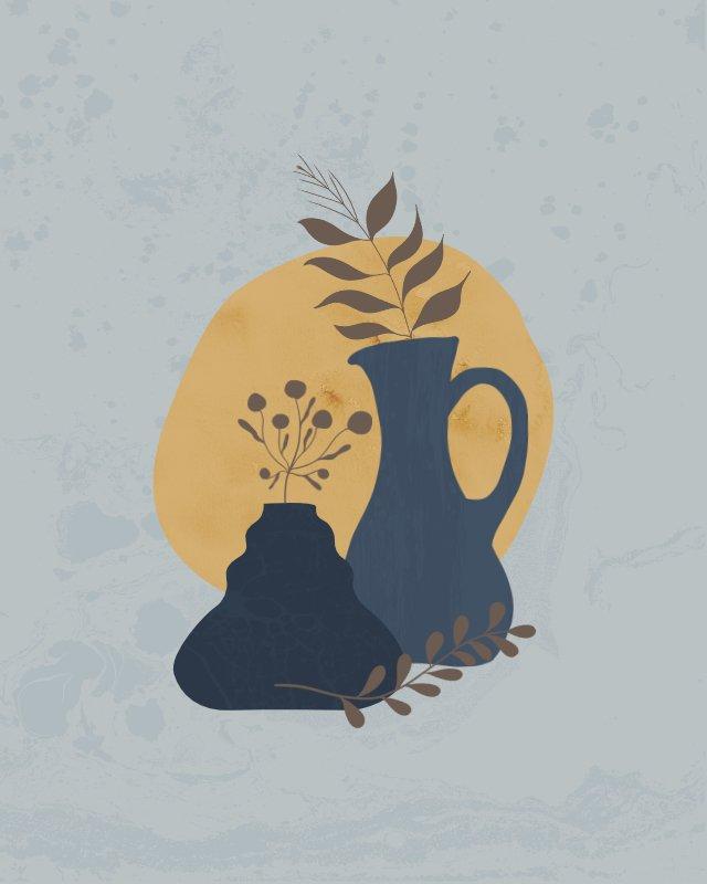 Minimalist still life illustration of a jug 5