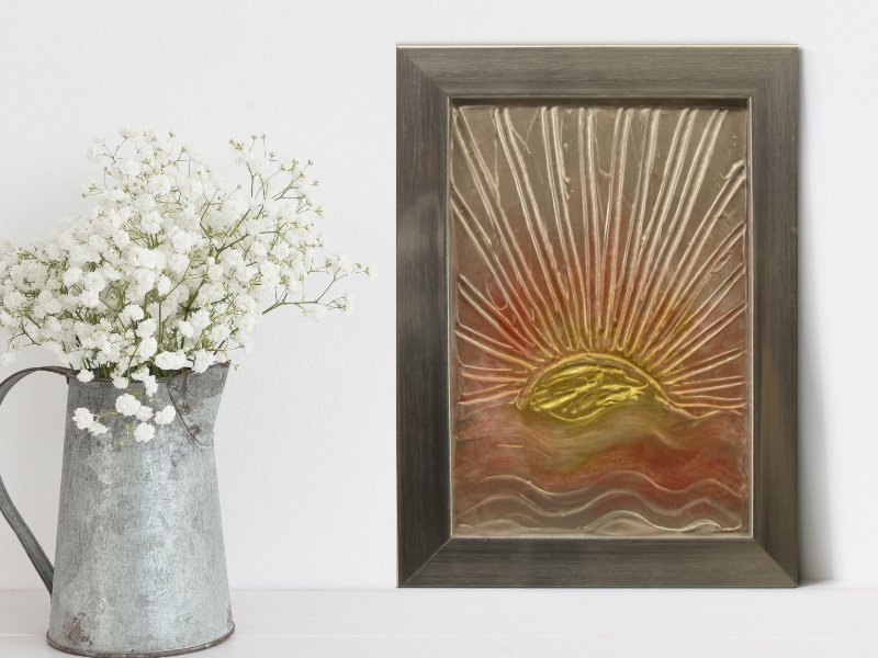 Ocean sunrise textured mixed media art in gold and silver 1