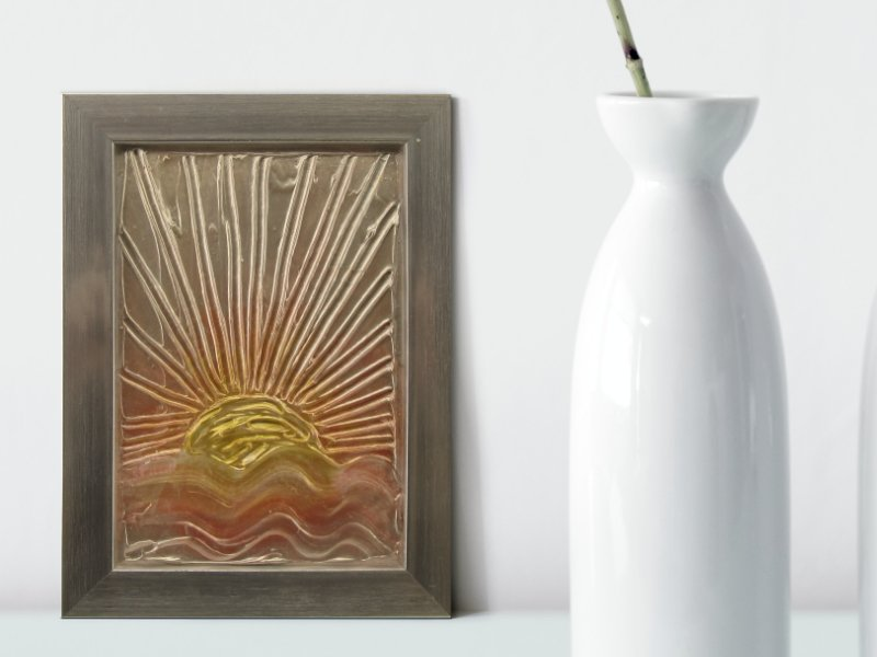 Ocean sunrise textured mixed media art in gold and silver