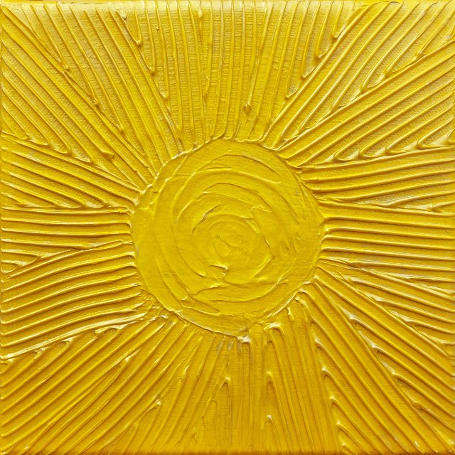Sun textured mixed media art in yellow and gold